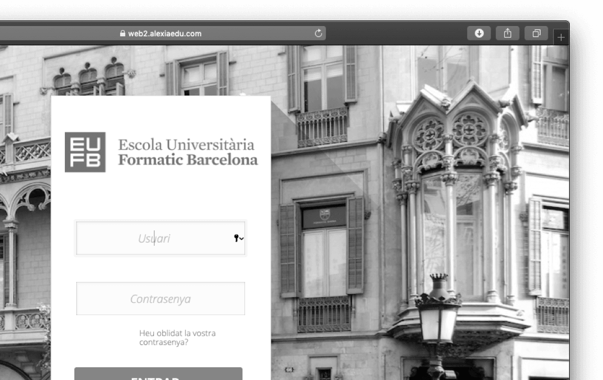 <p>Ja pots accedir<br /> al nou portal<br /> de l'estudiant</p>  | Escola Universitària Formatic Barcelona
